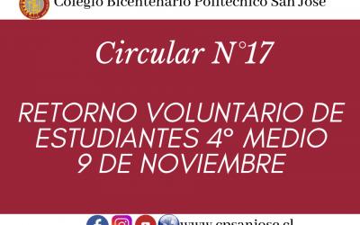 Circular N°17 – Retorno voluntario de Estudiantes 4° Medios – 9 de Noviembre